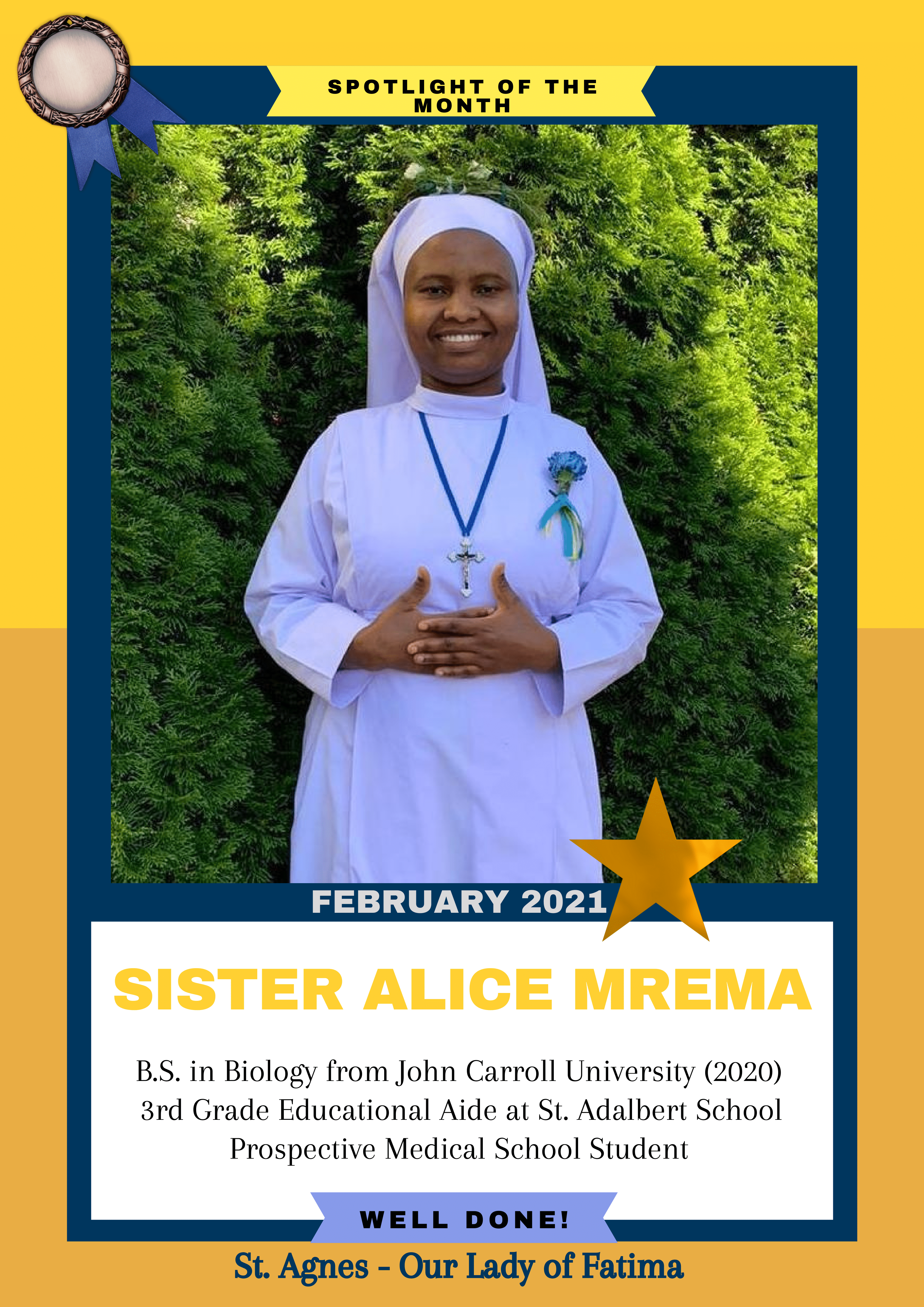 Photo of St. Agnes Our Lady of Fatima Church's Spotlight of The Month for January 2021: Dr. Myrita Wilhite